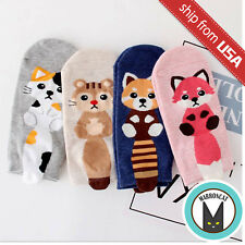 Lot 4 Kawaii Cute Cat Fox Squirrel Animal Tail Woman's Cotton Cartoon Boat Socks