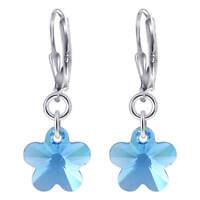 Blue Flower Swarovski Elements Crystal Sterling Silver Drop Earrings