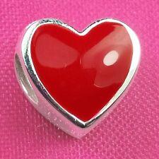 Genuine 925 Sterling Silver Red Enamel Heart Charm Bead European Bracelet Fit