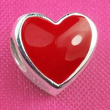 Genuino 925 plata esmalte corazón rojo grano de encanto pulsera Europea Fit