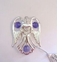Ornament- ANGEL holding a heart- Austrian Crystals- silver plated -purple