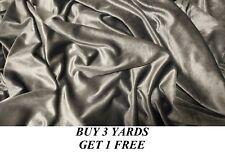Heavy Plain Grey Pure Velvet Lycra 4 Way Stretch dress-making fabric material