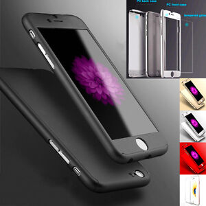 New Hybrid 360° Hard Thin Full Case + Tempered Glass Cover For Mobile Phone