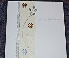 NEW Hand made Silver Wedding Anniversary  congratulations greetings card