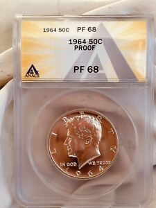 1964 PR68 Kennedy Half Proof Dollar New Anacs Graded Certified US 1/2 $ Coin