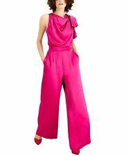 INC Women's Jumpsuit Pink Fuchsia Pop Size 10 Draped Neck Satin $119 #717