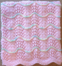 NEW Handmade PINK Knit Crochet BABY Afghan Blanket SOFT Infant Newborn