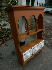 SOLID PINE WALL SHELF WITH CERAMIC DRAWERS - GOOD CONDITION