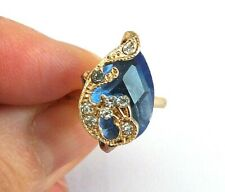 BLUE CRYSTAL CHINESE LUCKY PEACOCK ADJUSTABLE RING WOMEN  PARTY JEWELLERY FANCY