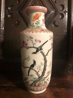 Antique Chinese republic Period porcelain vase vases bird flowers china ca 1930