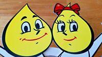 """VINTAGE ESSO OIL DROP BOY & GIRL ON VESPA SCOOTER 13"""" X 11"""" METAL GASOLINE SIGN"""