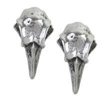 Alchemy Gothic Rabeschadel Odins Raven Skull Viking Pewter Ear Studs Earrings