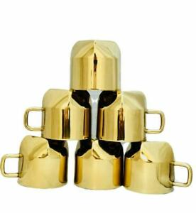Handmade Pure Brass Cups with Colours Design Homeware hotelware Kitchenware din