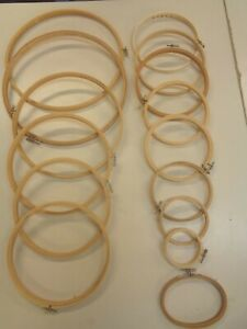MIXED LOT 15  WOODEN WOOD EMBROIDERY HOOPS  MANY SIZES