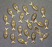 20 PIECES Ichthus Fish Cross Charms Pendants, Christian Jewelry Beading Supplies