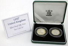 Royal Mint 1997 50p Plata prueba dos conjunto de monedas grandes pequeñas Britannia 50p De Tono