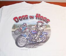 White Big Dogs On Hogs Motorcycles Mens Youth Cotton T Shirt L Free Ship!