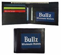 New Mens Slim Black BIFOLD WALLET Solid Goat Leather Credit Card Money Holder