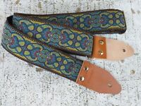 Sangle Guitare Pardo Guitar Strap Blue Lake Vintage Cuir Hippie Artisan B181FR