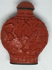 Old Chinese red cinnabar Lacquer Snuff Bottle Signed