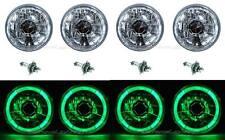 "5-3/4"" Green LED Halo Halogen Light Bulb Headlight Angel Eye Crystal Clear Set"
