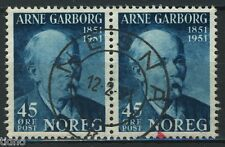 Norway 1951, NK 405 pair Son Nesna 12-2-1951 (NO)