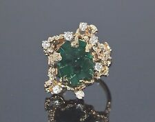 $14,500 14K Yellow Gold Natural Rough Green Emerald Diamond Cocktail Ring Band