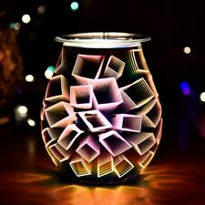 3D Electric Glass LED Holographic Aroma Touch Lamp Wax Melting Burner Touch