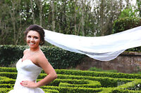 New 1 Tier Cathedral Long Crystal Veil Cut Edge Bridal Wedding Ivory White UK