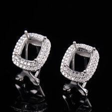 Natural Diamond Omega Back Earrings Settings Cushion 8×6mm Solid 14K White Gold