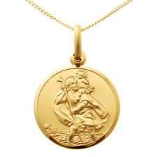 "9CT GOLD ST SAINT CHRISTOPHER PENDANT CHAIN NECKLACE WITH 18"" CHAIN - 18mm"
