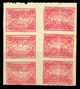 HONDURAS 1920  Peace 2c rose BLK 6 with 3x Tete-Beche pairs & Misperf Sc 194a MH