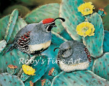 """Limited Edition Gambel's Quail """"Prickly Pair"""" Giclee Art Print By Roby Baer PSA"""