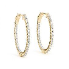 1.2 Inch Lucida Oval Hoop Huggie Earrings 2.00 Ct Diamonds 14k Yellow gold Cheap