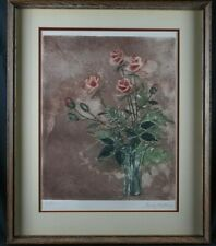 """Bouquet of roses still life etching artist proof signed 22.75"""" x 27.5"""" framed"""