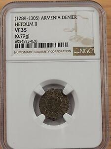 NGC VF35 Hetoum II AR Denier. Medieval Crusade-era Armenia. 1289-1305 AD.