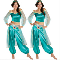 New Adults Women Aladdin Princess Jasmine Cosplay Costume Green Fancy Dress UK++