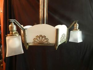 Dramatic 1930's Cast iron White Slip Shade Art Deco Chandelier
