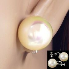 #C100 CLIP ON SCREWBACK BIG 16MM FAUX IRIDESCENT PEARL BALL COMFY EARRINGS NEW