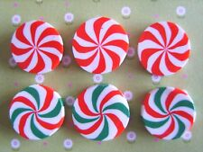 6 x Christmas Candy Cane Slices Embellishment Cabochon Decoden Kawaii Crafts UK