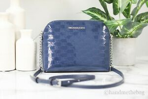 Michael Kors Cindy Large Patent Leather Navy Blue Dome Crossbody Bag Handbag