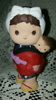 """OMC JAPAN  BISQUE 5""""  decopauged? figure with baby on back~really sweet~Rare VTG"""
