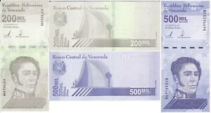 Venezuela --__ set 2 banknotes 200000 500000 Bolivares 2020 ( 2021 ) UNC