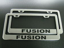 2 Brand New FUSION chromed METAL license plate frame +screw caps