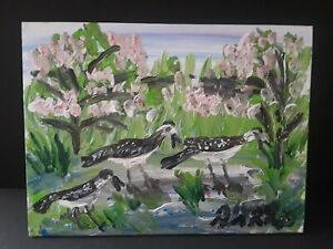 Florida Folk Artist Alyne Harris. Avian Landscape. Acrylic on Canvas Board