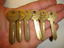 6 old COLE NATIONAL H32 brass Car Key Blanks LOT ILCO H50 FORD LINCOLN MERCURY