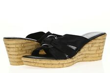 Italian Shoemakers Womens Black Wedge Slides Sandals Sz 8 - 232739