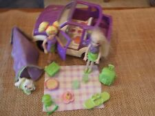 Polly Pocket Lot Dolls Girls Jeep Car Vehicle Camping Purple Accessory Dog X48