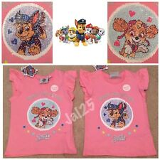 7/8 Paw Patrol Primark Sequin 2 Way Brush Everest Sky Pink T-shirt Top New