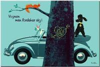 "VINTAGE VOLKSWAGEN VW Beetle Ad Poster CANVAS PRINT 36""X 24"" tree"